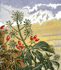 Autumn Hedgerow linocut 23 x 20.5 cm £135