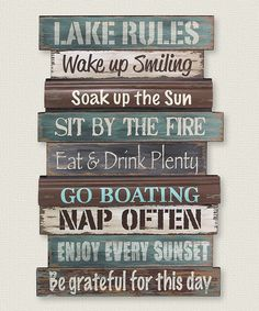 Patterned to look like weathered boards from the lake house dock, the Lake Rules Wall Sign reminds you of all the tips for a perfect time.