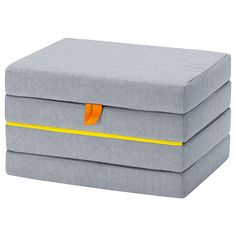 IKEA - SLÄKT, Pouffe/mattress, foldable, Perfect for when a friend sleeps over – and easy to fold up and put away in the morning. The folded puff/mattress fits perfectly under SLÄKT bed. Cama Ikea, Chambre Nolan, Childrens Room, Time To Tidy Up, Pull Out Bed, Cama Box, Ikea Family, Ticking Fabric, Station Wagon