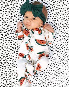 Precious baby girl in watermelon print