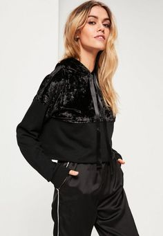 Velvet is still in charge. Fix up and look sharp in this sweatshirt - featuring a front drawstring and velvet panel.
