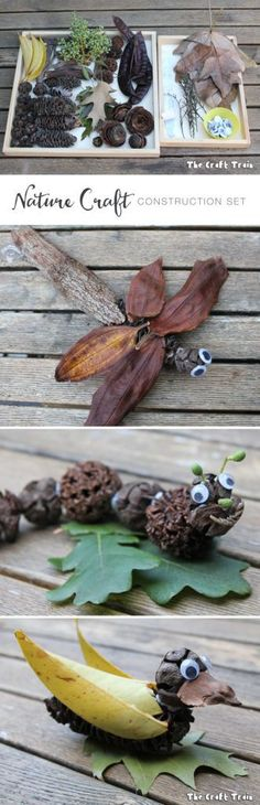 Create a nature craft construction kit using natural items plus blu-tack and googly eyes for fun natural activities with kids Diy Nature, Theme Nature, Nature Crafts, Twig Crafts, Nature Study, Projects For Kids, Crafts For Kids, Arts And Crafts, Nature Activities