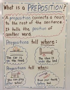 just stopping by with a mid week check in and wanted to share with you the cutest lesson we did today on PREPOSITIONS . What Is A Preposition, Preposition Activities, Grammar Activities, Adjectives Activities, Preschool Worksheets, Classroom Activities, Grammar Anchor Charts, Reading Anchor Charts, English Writing Skills