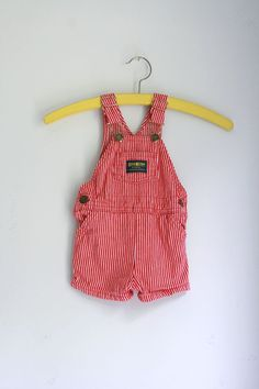 Vintage oshkosh overalls red and white striped 12 to by fuzzymama, $10.00