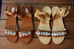 So easy, right? via StyleList Strappy Sandals, Diy Leather Sandals, Diy Mothers Day Gifts, Jeweled Sandals, Mother's Day Diy, Fashion News, Jewels, Dyi