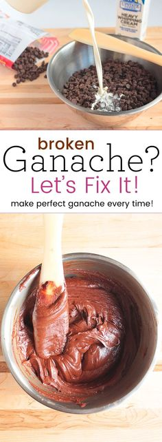 How to Save a Broken Ganache. Don't waste all of that expensive ganache, we can save it in a couple easy steps! Frosting Recipes, Cake Recipes, Dessert Recipes, Cake Decorating Techniques, Cake Decorating Tutorials, Decorating Ideas, Food Cakes, Cupcake Cakes, Frosting Techniques