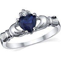 Damen Sterling Silber 925 Claddagh Ring Mit Blau Saphir Bequemlichkeit Passen,Größe 47 to 59