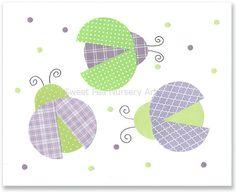 Lady Bug nursery purple and green nursery by SweetPeaNurseryArt, $15.00