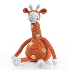 Large Giraffe #knittedtoy #giraffetoy #handmadetoy #pebblechild #fairtradetoy