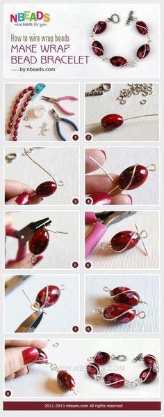 Tutorial DIY Wire Jewelry Image Description how to wire wrap beads - make wrap bead bracelet #diyjewelry #braceletstutorials