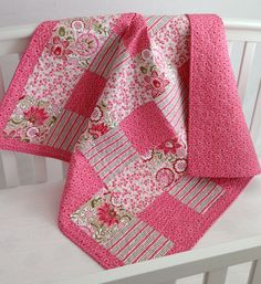 Pink Songbird Garden Baby Girl Quilt by KimsQuiltingStudio on Etsy, $149.00