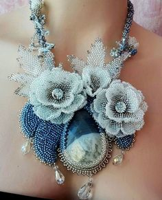 I made photo collection of beautiful spring jewelry with beaded flowers. Every piece is original and Seed Bead Necklace, Seed Bead Jewelry, Beaded Jewelry, Beaded Necklaces, Beaded Flowers Patterns, Beading Patterns, Seed Bead Flowers, Bead Crochet Rope, Diy Crafts Jewelry