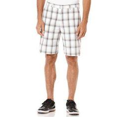 Ben Hogan Men's Golf Performance Large Scale Windowpane Print Flat Front Shorts, White