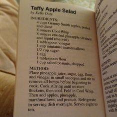 Kelly Doty's Taffy Apple Salad More Taffy Apple Salad, Apple Salad Recipes, Summer Recipes, Holiday Recipes, Holiday Ideas, Summer Food, Summer Salads, Some Recipe, Recipe Box