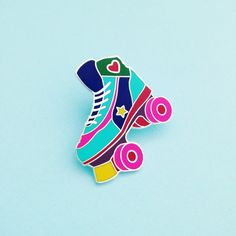 Roller Skate Enamel Lapel Pin Badge Rollerskating by fairycakes