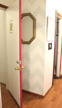 Paint the side of the door a bright color | Chevron accent wall.
