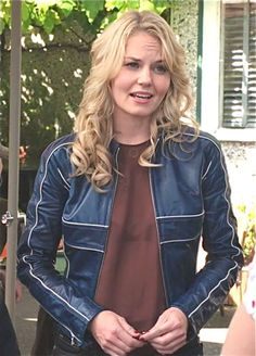 Jennifer Morrison (Emma Swan on Once Upon A Time) in a blue calfskin jacket with white piping.  Designed by Oceandriver Leather (Based out of Vancouver).