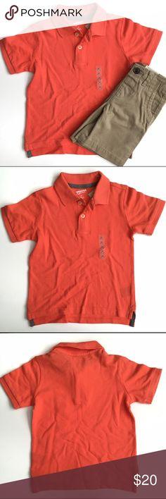 🚀 NWT Arizona Jean Co. Boys Outfit 🚀 NWT Arizona Jean Co. boys outfit includes an orange polo short sleeve shirt and tan khaki chino shorts with elastic waist. 🚀From my nephews closet, smoke and pet free home🚀 Arizona Jean Company Shirts & Tops Polos