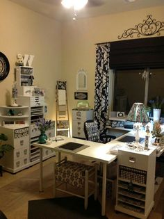 Gorgeous craft room table SET UP