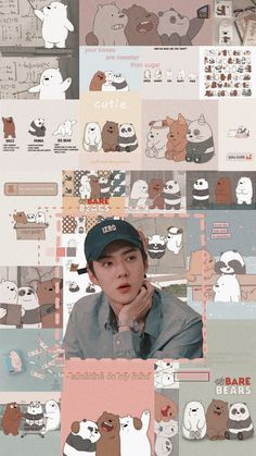 """— sehun and we bare bears . Exo Kokobop, Kpop Exo, Chanyeol, Bear Wallpaper, Cartoon Wallpaper, We Bare Bears Wallpapers, Cute Wallpapers, Emoji Photo, Sehun Cute"
