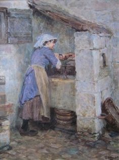 Ralph Hedley R.C 1848 - 1913 A Runswick Washerwoman, oils on canvas, signed and dated Pierre Auguste Renoir, Camille Pissarro, Claude Monet, Value In Art, Impressionist Artists, Cottage Art, Artist Painting, Artist At Work, Oil On Canvas