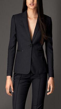 Jaqueta em lã virgem com detalhes em couro | Burberry Mais