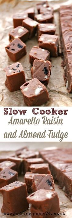 Slow Cooker Amaretto Raisin and Almond Fudge
