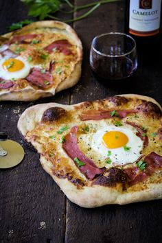 Breakfast pizza: top  premade pizza dough with your favorites like bacon, egg, cheese, tomato,ham, fresh herbs. Partially cook some of the heavier items at home and finish off on the grill. If you don't want to deal with pizza dough, use pitas, lavash or naan bread from the grocery store.