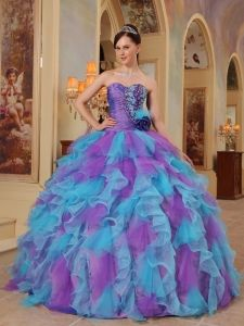 Purple and Aqua Blue 2013 Quinceanera Dres Sweetheart