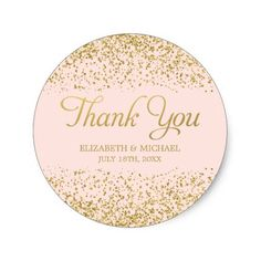 Blush Pink Faux Gold Glitter Wedding Thank You Classic Round Sticker