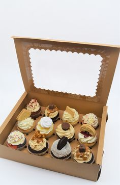 Cupcake collection and delivery from Sian's Little Cakery, Grantham Lincolnshire. Caramac, Jammy Dodgers, Cupcake Collection, Cake Packaging, Cupcake Boxes, Cupcake Flavors, Reeses Peanut Butter, Cake Makers, Fun Cupcakes