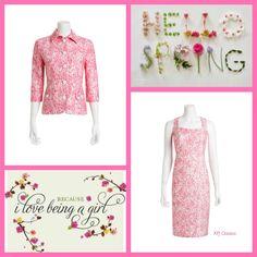 Azalea & White Lace Print Jacket & Sheath