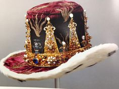 Crown and hat of Prince Karl Gustavus, hereditary Prince of Sweden. Gold, diamonds, sapphires, rubies, pearls and enamel. Made in 1650AD by Jurgen Dargeman using parts of a crown that was made in 1606 for Queen Kristina the Elder of Sweden. Collection (and original photo credits) to Royal Treasury Skattkammaren, Stockholm, Sweden.
