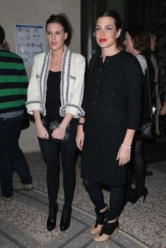 Charlotte Casiraghi and Juliette Maillot attending the 'Chanel The Little Black Jacket' exhibition launch at the Grand Palais in Paris. 2012...