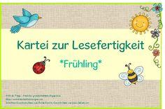 Locke: card index for reading skills * spring * - Bildung Teaching Literature, Language And Literature, Deaf Children, Teachers Corner, Learn German, School Themes, Card Reading, Reading Skills, Learn To Read