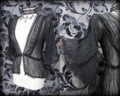 Romantic Black Sheer Lace Angel Wing Cardigan Top 10 12 Victorian Vintage Goth | THE WILTED ROSE GARDEN on eBay // Worldwide Shipping Available