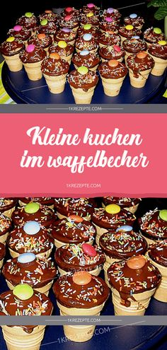 Kleine Kuchen im Waffelbecher - Rezepte Cupcakes in a waffle cup - recipes Easy Smoothie Recipes, Easy Smoothies, Easy Cake Recipes, Good Healthy Recipes, Cupcake Recipes, Cookie Recipes, Cupcakes, Coconut Recipes, Food Cakes
