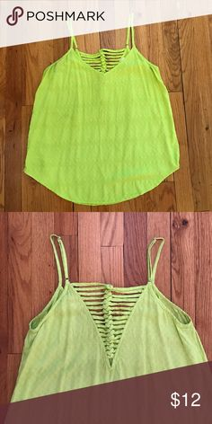 NWOT lime green tank top with detailing in back Pixley bright green tank top with cross detailing in the back Pixley Tops Tank Tops