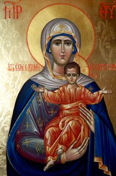 Theotokos by Elena Cerasela Ciuca Religious Images, Religious Icons, Religious Art, Byzantine Art, Byzantine Icons, Hail Holy Queen, Church Icon, Christian Artwork, Russian Icons