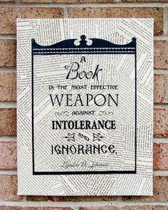 A book is the most effective weapon against intolerance and ignorance —-Lyndon B. Johnson. (via Quote on Canvas A Book is the Most Effective Weapon by StoicDesign)