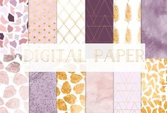 digital paper gold and purple for personal use par GraphicRain