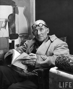 A portrait of the noted Swiss architect, urbanist and interior designer, poet, painter Charles-Edouard Jeanneret, better-known under his nom de plume of Le Corbusier.