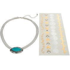 Mudd Marquise Necklace & Temporary Tattoo Set (Blue) ($9) ❤ liked on Polyvore featuring jewelry, necklaces, blue, imitation jewellery, blue necklace, imitation jewelry, tattoo necklace and tattoo jewelry