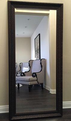 Elegance Ornate Embossed Bronze Wood Framed Floor Mirror #westframes