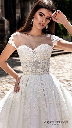 crystal design bridal 2016 cap sleeves sheer bateau sweetheart neckline heavily embellished corset bodice princess a line ball gown wedding dress illusion back royal train (ermesso) zv