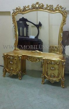 Dresser with mirror, made from Beech wood with golden leaves... more great hand carved ..