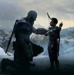 More God of War art. Father and Son Kratos God Of War, Mundo Dos Games, Night In The Wood, Game Concept Art, Gaming Wallpapers, Norse Mythology, Father And Son, Happy Fathers Day, Game Art