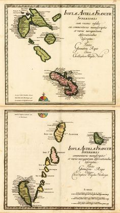 Antilles Map - Copper engraving, hand colored in outline and wash when published. A strong and fine impressions of the map of the French Antilles by Chr. Weigel. The cartographer Christoph Weigel worked around 1719