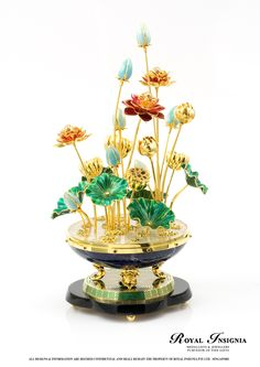 Lotus Objet D'art by Royal Insignia. 22K gilded sculpture with fine enamel finishing.