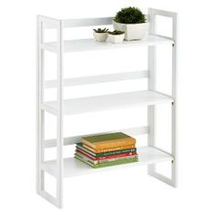 White Solid Oak Stackable Folding Bookshelf   The Container Store